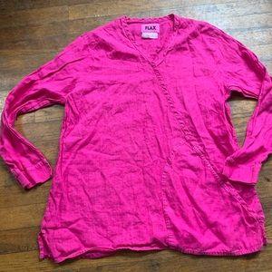 Flax Bright Pink Tunic Front Pocket Linen Shirt
